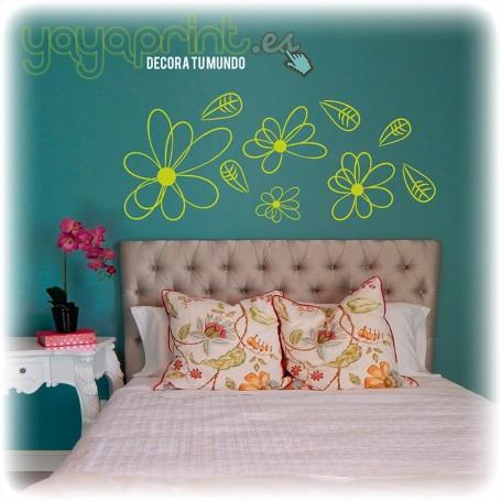 Vinilo floral para cabecero de cama con flores de colores