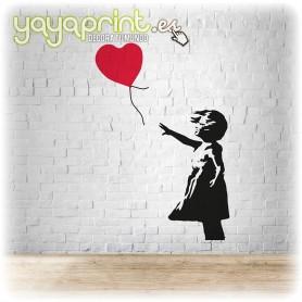 Graffiti de niña con globo rojo de Banksy en vinilo decorativo para pared.