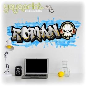 Graffiti de nombre Román en vinilo para pared. Más graffitis en Yayaprint.es