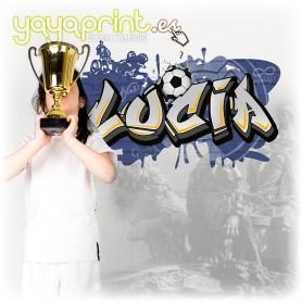 Vinilo graffiti del Real Madrid con el nombre de Lucia