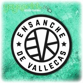 Pegatina del Ensanche de Vallecas. Hecha por la tienda de vinilos decorativos Yayaprint de Madrid