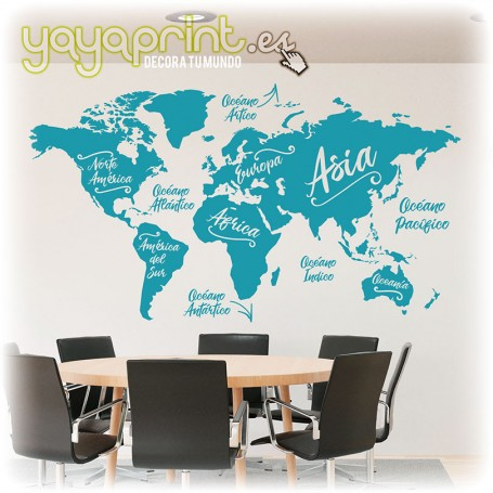 Mapamundi en vinilo con los nombres de los continentes y de los mares y océanos. Decoración para pared moderna y elegante.