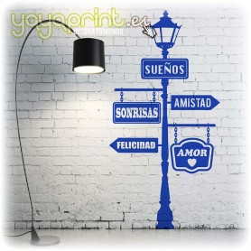 Vinilo decorativo Farola con palabras positivas. Un diseño elegante y emocional para tu pared.