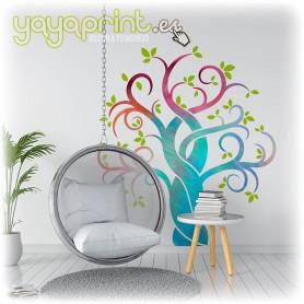 Vinilo floral de árbol tribal en estilo acuarela para tu pared. La decoración perfecta para tu hogar.