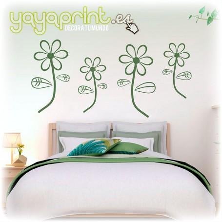Cabecero de cama en vinilo decorativo con margaritas de colores.