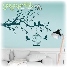 Pegatina de pared de rama de árbol con una jaula y pájaros libres.