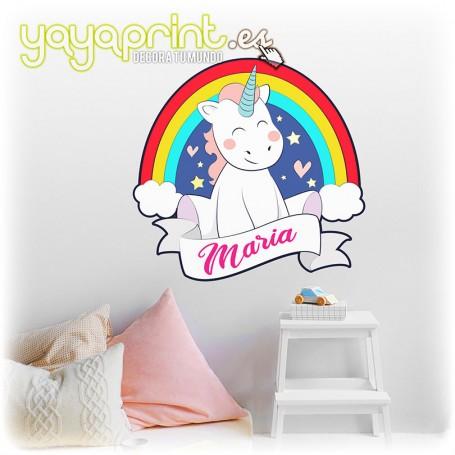 Vinilo infantil de unicornio con arcoíris, nubes, estrellas y corazones