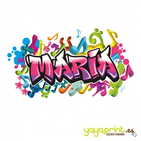 Graffiti con el nombre de María sobre fondo de notas musicales de colores.