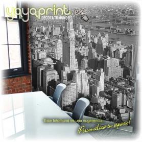 Vinilo fotomural de la ciudad de Nueva York en blanco y negro.