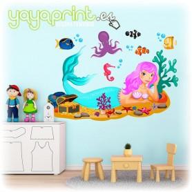 Vinilo infantil de sirenita en el fondo del mar con peces y tesoro.