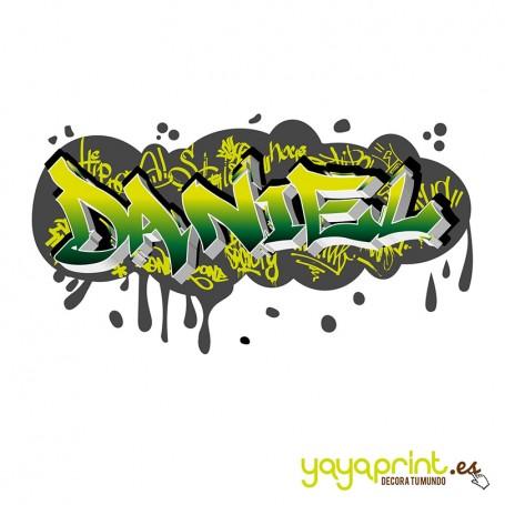 Graffiti de Daniel en 3d hecho de vinilo decorativo. Más diseños en Yayaprint.es
