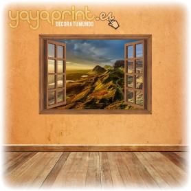 Ventana de vinilo con marco de madera para pared. Aire fresco en tu hogar.