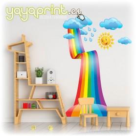 Vinilo infantil de arcoiris con nubes y sol, bajando desde el cielo en forma de tobogán. La pegatina de pared más colorida