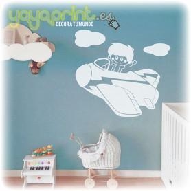 Vinilo infantil de avión con niño aviador. La decoración infantil que hará volar su imaginación.
