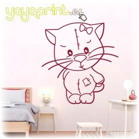 Vinilo infantil de gatita tierna  de peluche para decorar habitaciones de niñas y bebés.